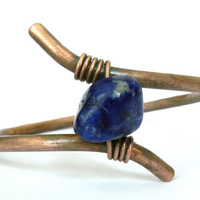 Copper Bangle Bracelet - With Blue Lapis Lazuli Stone