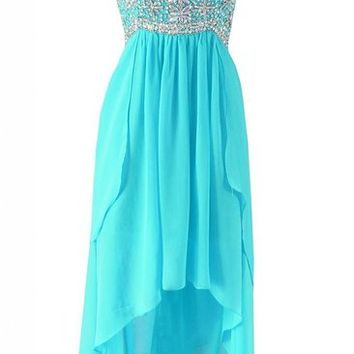 Kamilione Women's Chiffon Sweetheart Asymmetrical Evening Prom Dress
