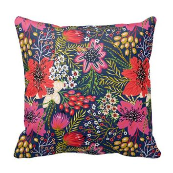 Colorful Vintage Bright Floral Pattern Fabric Throw Pillow
