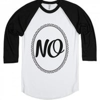 No-Unisex White/Black T-Shirt