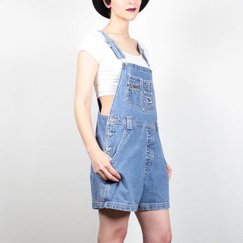Vintage 90s Overalls 1990s Overall Shorts Blue Jean Jumper Denim Overall Dungarees Soft Grunge Overalls Shortalls Romper Playsuit M Medium L