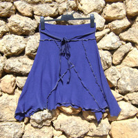 Upcycled Skirt  Asymetrical Royal Blue