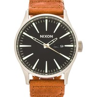Nixon The Sentry Leather in Dark Copper & Saddle Woven