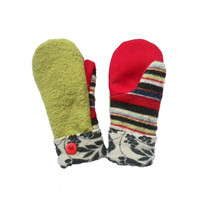 GREEN Mittens Wool Sweater Mittens Recycled Mittens Women's Handmade in Wisconsin Red Black Blue Stripes Floral