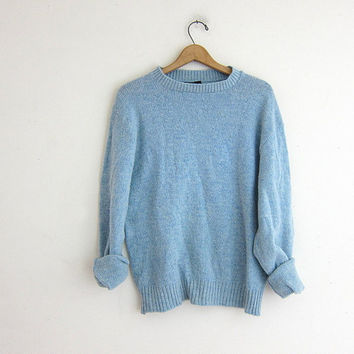 vintage baby blue sweater. crewneck sweater. wool sweater