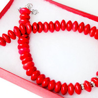 Red Turquoise Coin Rondelle With Silver Clear Rhinenstone Necklace