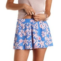 Floral Print High-Waisted Shorts by Charlotte Russe - Blue Combo