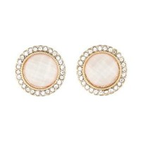 Rhinestone-Trimmed Gem Earrings by Charlotte Russe - Ivory