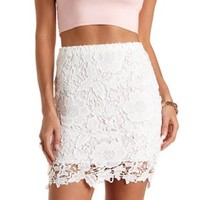 Floral Lace Pencil Skirt by Charlotte Russe - White