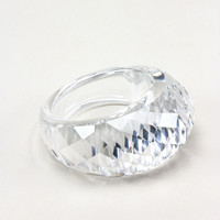 Clear Faceted Cubic Zirconia Statement Ring