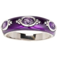 Amazon.com: Sterling Silver Amethyst with Purple Enamel Women's Ring, Size 8: Jewelry