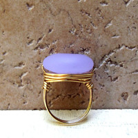 Lavender Sea Glass Ring:  Gold Wire Wrapped, Soft Pale Purple Beach Jewelry, Size 7, Custom Size