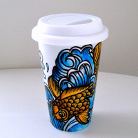 Ceramic Travel Mug Koi Fish Ocean Waves Japanese Tattoos Asian Art Hand Painted Orange Blue White - READY TO SHIP
