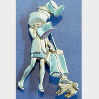 Vintage AJC Brooch/Pin Lady & Dog Shopping with Packages Figural Holidays Christmas Chanukah