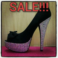 SALE, A pair of Glam Blinged up black peeptoe platform stilettos with bows