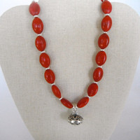 Red Howlite Ovals with Ornate Silver Pendant Necklace Silver Toggle Gift Fashion under 40