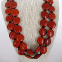 Red Coin Shaped Beads with Black Disc Spacers Double Strand Necklace Silver Toggle Fashion Gift under 50