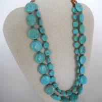 Turquoise Coin Shaped Beads with Brass Disc Spacers Double Strand Necklace Brass Toggle Fashion Giftunder 50