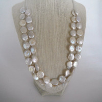 Gorgeous Iridescent Freshwater Coin Pearls Double Strand Necklace Silver Toggle Fashion Giftunder 50
