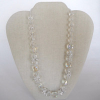 Sparkling Clear Crystal Beads Single Strand Necklace Gift Fashion under 40
