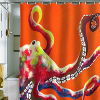 Clara Nilles Jeweled Octopus On Tangerine Shower Curtain