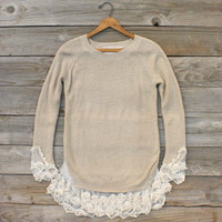 Skyline Lace Sweater in Sand, Sweet Bohemian Sweaters