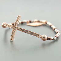 Rose Gold Beaded Pave Crystal Sideways Cross Bracelet