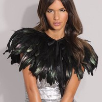 Couture Black Feather Capelet Wrap - Custom Size/Color/Style Options Available - by LavederFaye - ReadyToShip