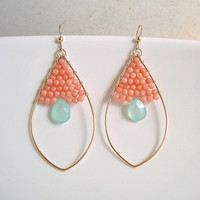 Peach Coral Aqua Chalcedony Earrings With Gold Filled Oval Hoops