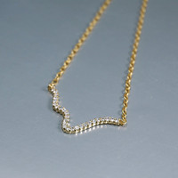 Gold Plated Wave Necklace with Swarovski Crystals