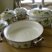 Vintage Enamal Cookware 9 Piece by MozTreasures on Etsy