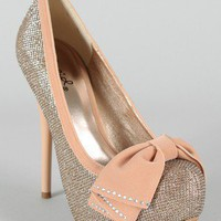 Qupid Neutral-317 Bow Glitter Platform Pump