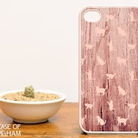 Pink Cat iPhone Case on Wood Print - Cat iPhone 4 Case on Wood Print - Cute iPhone Cases