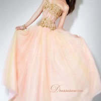 Custom Princess Floor-length Strapless Pink Dress -Dressesau