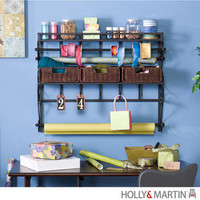 Holly &amp; Martin fashion. HMARTINHM-25-184-054-5-38 Olivia Wall-Mount Craft Storage Rack w/ Baskets-Black, Holly &amp; Martin Style, Holly &amp; Martin Luxury Savings HMARTINHM-25-184-054-5-38