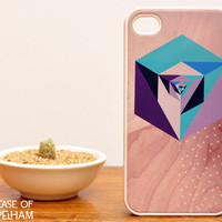 Geometric iPhone Case on Wood Print - Geometric iPhone 4 Case - Mint Green and Purple
