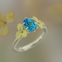 Oval Blue Topaz Gemstone Ring, Sterling Silver, 18k gold Hydrangea Blossoms Alternative Engagement Ring  Made to Order