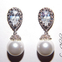Wedding Pearl Earrings Swarovski White Round Pearl Cubic Zirconia Rhodium Sterling Silver Posts Sparkle FREE US Shipping