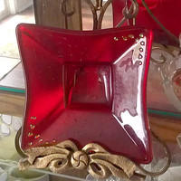 Square Red Dish with Gold Dichroic Accents - Fused Glass