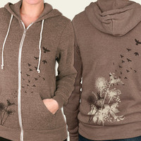 Eco Fashion. Dandelions, Birds in Flight Women&#x27;s Eco Heather Zip Hoodie