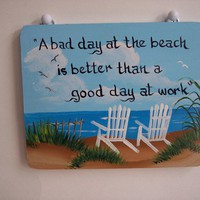 Beach  Chair  Wood  Hanging Sign