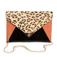 Cute Animal Print Clutch - Color Block Clutch - Leopard Print Purse - $40.00