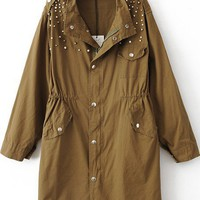 Brown Long Sleeve Pearls Rivet Epaulet Trench Coat - Sheinside.com