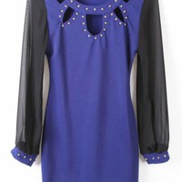 Blue Long Sleeve Off the Shoulder Rivet Chiffon Dress - Sheinside.com