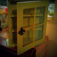 Rustic Green Shadow Box with Fleur de Lis Door Knob