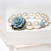 Dusty Denim Blue Vintage Bracelet with Cream Pearls
