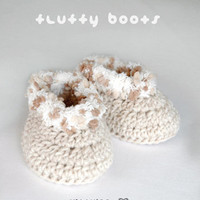 Khaki Fluffy Baby Boots Crochet SYM.. on Luulla