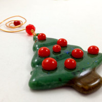 Christmas Tree Ornament Fused Glass Decoration Xmas Tree Trimming Green Red 010