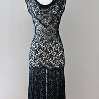 1930s Lace Dress - Black Sleeveless Bias Cut Flapper