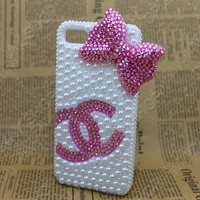 iphone 5 case pink  handmade Chanel Bow Fashion pearl iphone 5 cases